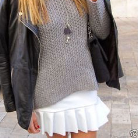 Zara Dresses & Skirts - ZARA NEOPRENE WHITE FRILL MINI SKIRT NWOT!!